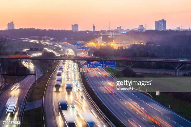 Germany, Baden-Wuerttemberg, Autobahn A8 near Stuttgart at twilight