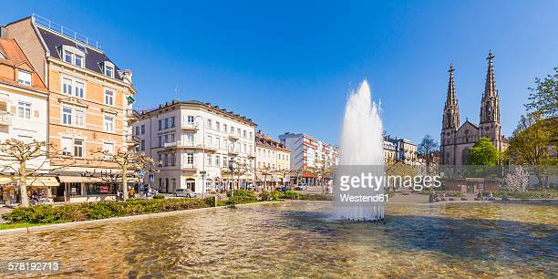Germany, Baden-Wuerttemberg, Baden-Baden, Augustaplatz, Parish church and fountain