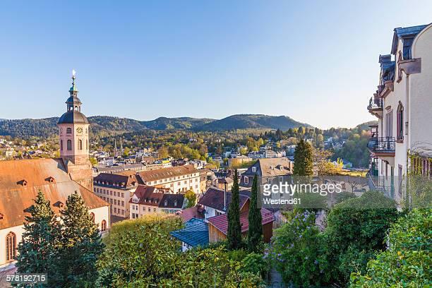 germany, baden-wuerttemberg, baden-baden, cityscape with collegiate church - baden baden photos et images de collection