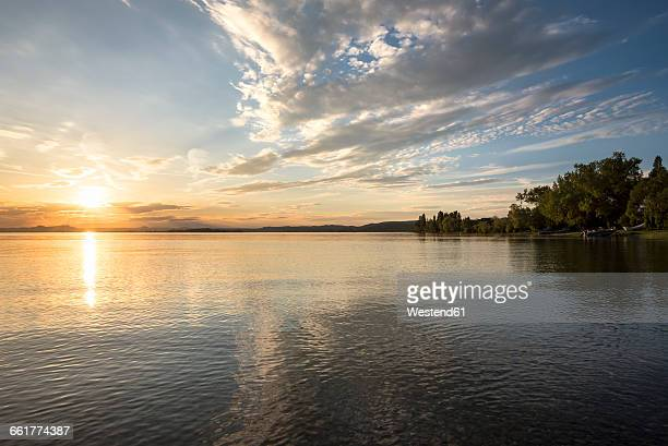 Germany, Baden-Wuerttemberg, Constance district, Reichenau Island and Lake Constance in the evening
