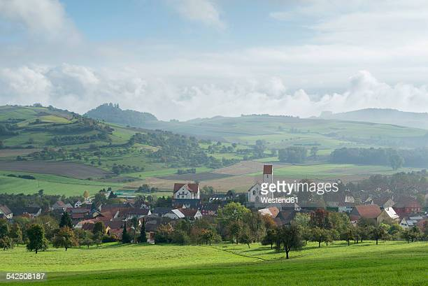 Germany, Baden-Wuerttemberg, Constance district, View to Weiterdingen, Hegau landscpae with Maegdeberg and Hohenkraehen right