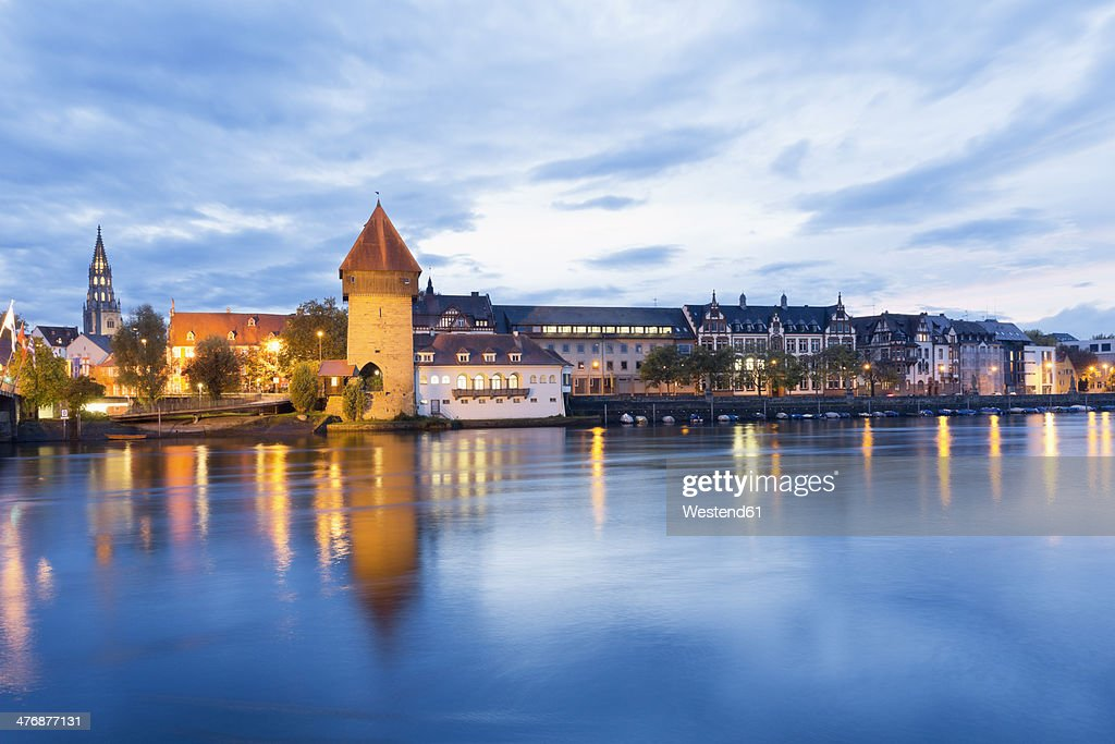 Germany, Baden-Wuerttemberg, Constanze, old town, Rhine river, Rheintor-Tower and Minster in the background : Stock Photo