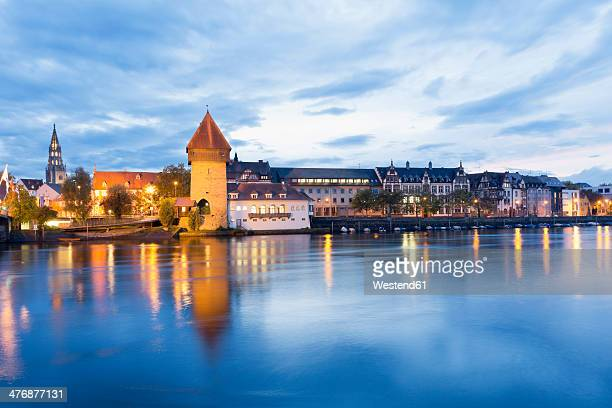 germany, baden-wuerttemberg, constanze, old town, rhine river, rheintor-tower and minster in the background - minster stock photos and pictures