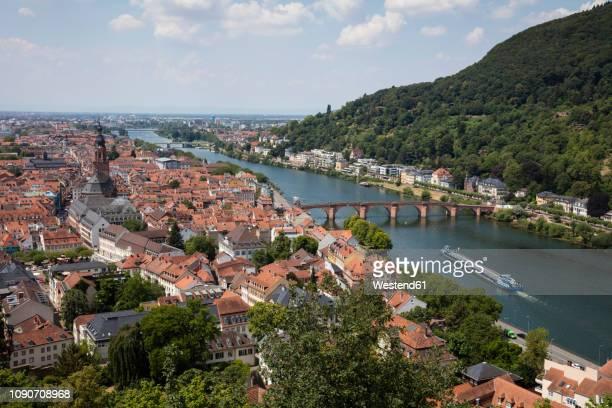 germany, baden-wuerttemberg, heidelberg, neckar river, city view with charles-theodore-bridge - heidelberg stock photos and pictures