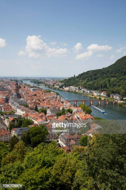 germany, baden-wuerttemberg, heidelberg, neckar river, city view with charles-theodore-bridge - heidelberg stock-fotos und bilder