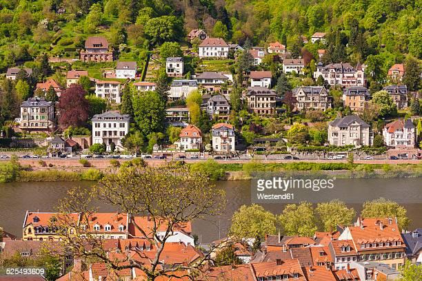 germany, baden-wuerttemberg, heidelberg, view to exclusive residential area at neckar river - stadtviertel stock-fotos und bilder