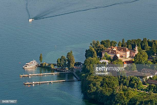Germany, Baden-Wuerttemberg, Island Mainau, aerial view of castle and harbor