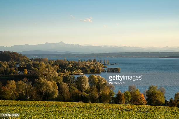 Germany, Baden-Wuerttemberg, Lake Constance district, Lake Constance and Swiss Alps
