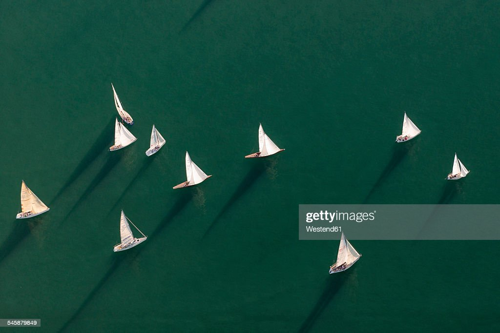Germany, Baden-Wuerttemberg, Lake Constance, Friedrichshafen, aerial view of sailing boats : Stock Photo