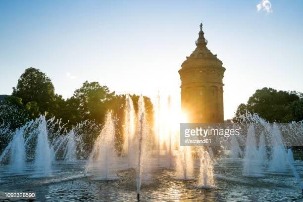 germany, baden-wuerttemberg, mannheim, water tower and fountain at sunset - mannheim stock-fotos und bilder