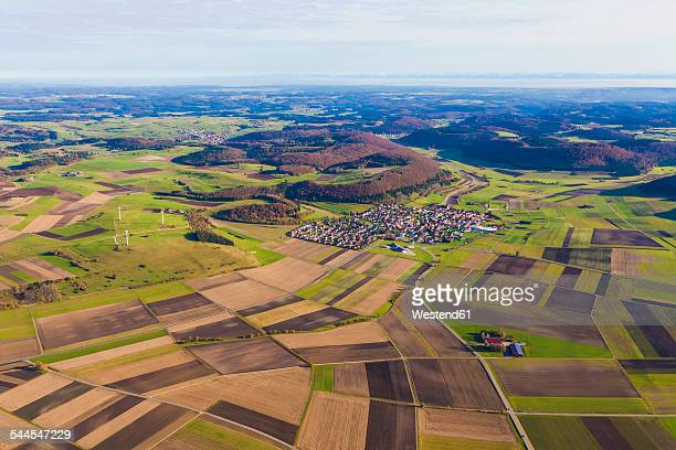 Germany, Baden-Wuerttemberg, Melchingen, aerial view of fields and wind farm