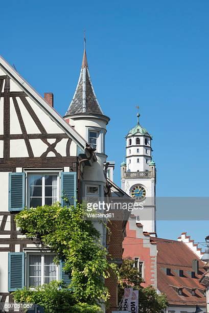 germany, baden-wuerttemberg, ravensburg, timber-framed house and blaserturm - ravensburg stock-fotos und bilder