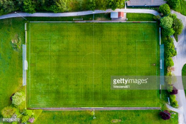 Germany, Baden-Wuerttemberg, Rems-Murr-Kreis, Aerial view of football ground