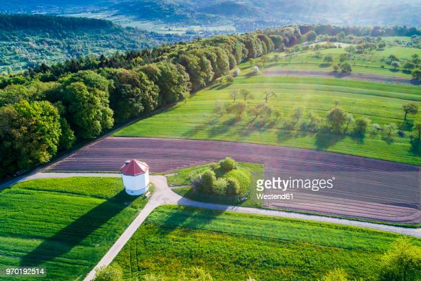 Germany, Baden-Wuerttemberg, Rems-Murr-Kreis, Swabian Franconian forest, Wieslauf Valley, Aerial view of water tower