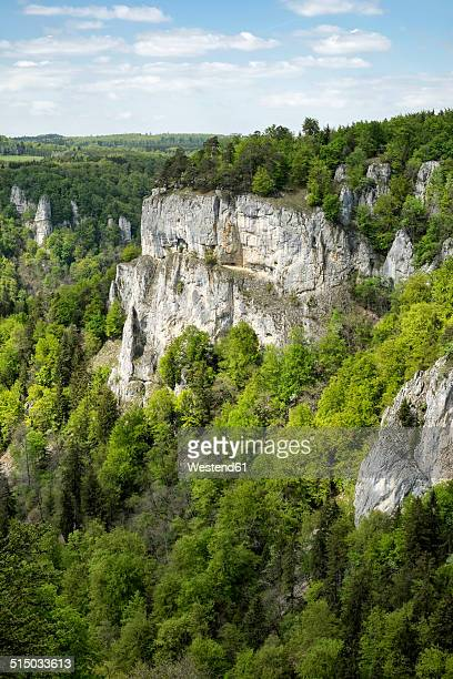 Germany, Baden-Wuerttemberg, Sigmaringen district, view to Jurassic limestone rocks at Upper Danube Valley