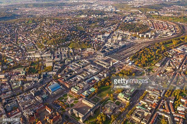 Germany, Baden-Wuerttemberg, Stuttgart, aerial view of city center