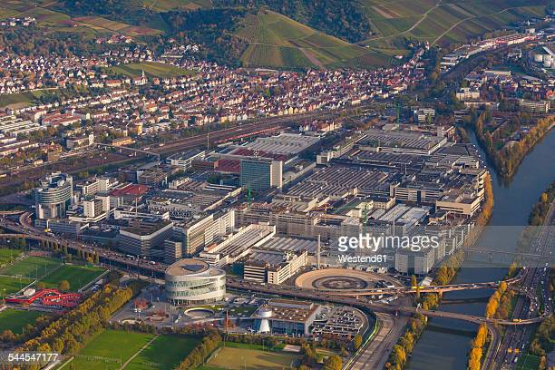 germany, baden-wuerttemberg, stuttgart, aerial view of mercedes-benz headquarters - baden württemberg stock photos and pictures