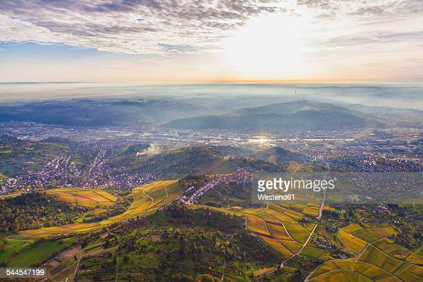 Germany, Baden-Wuerttemberg, Stuttgart, aerial view of Neckar Valley with vineyards