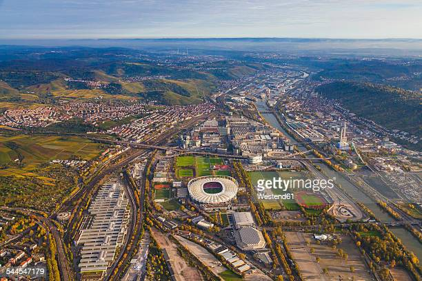 germany, baden-wuerttemberg, stuttgart, aerial view of neckarpark with mercedes-benz arena - stuttgart stock pictures, royalty-free photos & images