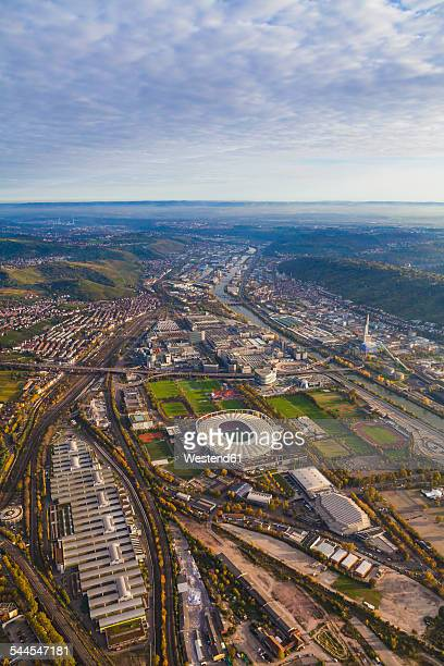 Germany, Baden-Wuerttemberg, Stuttgart, aerial view of Neckarpark with Mercedes-Benz Arena