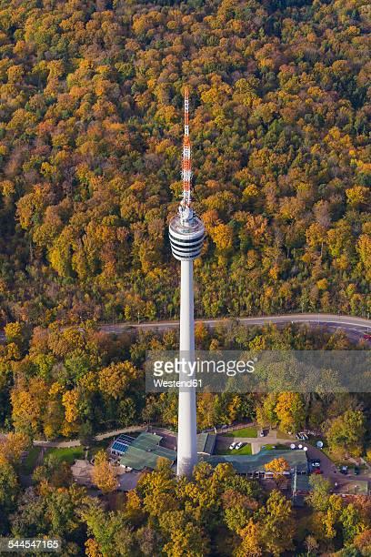 Germany, Baden-Wuerttemberg, Stuttgart, aerial view of TV tower