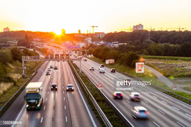 Germany, Baden-Wuerttemberg, Stuttgart, Autobahn A8 in the evening