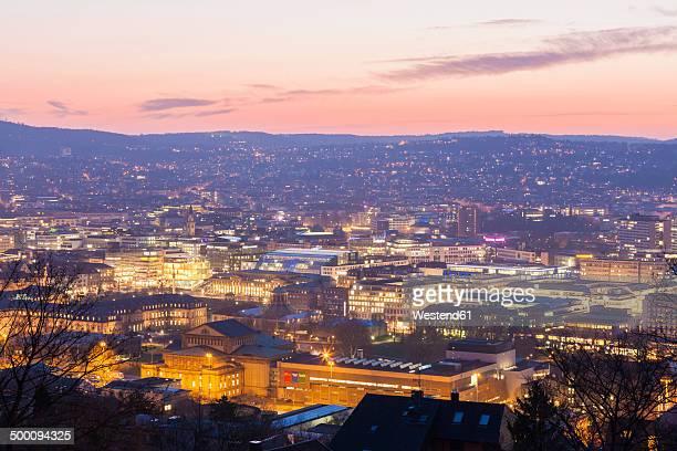 Germany, Baden-Wuerttemberg, Stuttgart, Cityscape in the evening