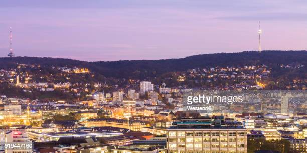 Germany, Baden-Wuerttemberg, Stuttgart, cityview in the evening, panoramic view