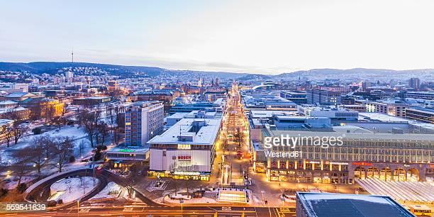 Germany, Baden-Wuerttemberg, Stuttgart, Cityview, Koenigstrasse in winter