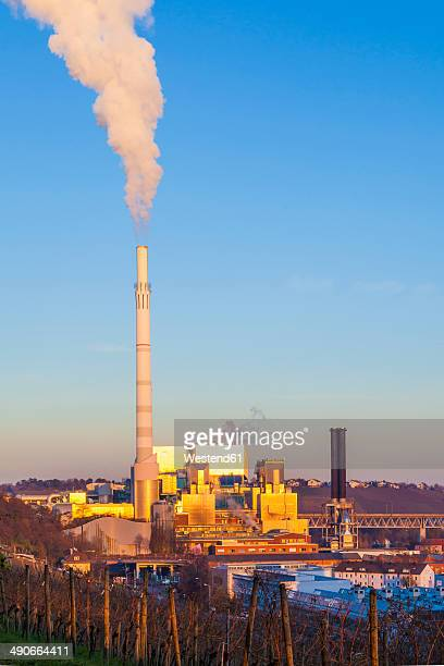 Germany, Baden-Wuerttemberg, Stuttgart, coal-fired power station with steaming stack
