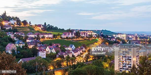 Germany, Baden-Wuerttemberg, Stuttgart, Killesberg, cityscape with houses, vineyards