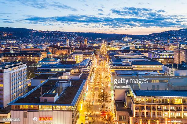 germany, baden-wuerttemberg, stuttgart, koenigstrasse, blue hour - stuttgart stock pictures, royalty-free photos & images