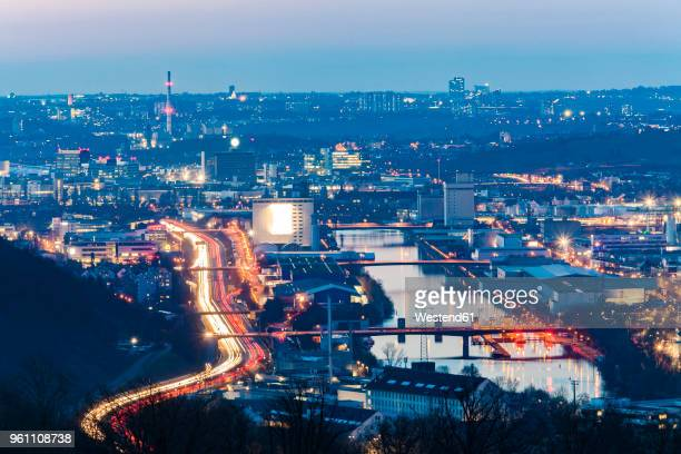 germany, baden-wuerttemberg, stuttgart, neckar valley, neckar river, port area, industrial area at night - stuttgart stock pictures, royalty-free photos & images