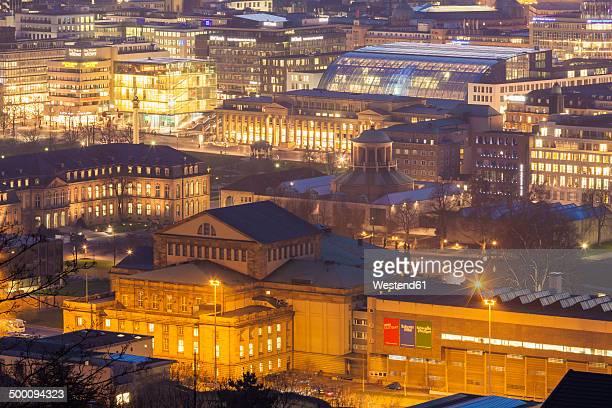 Germany, Baden-Wuerttemberg, Stuttgart, Schlossplatz, Opera, New Castle, Art Museum in the evening