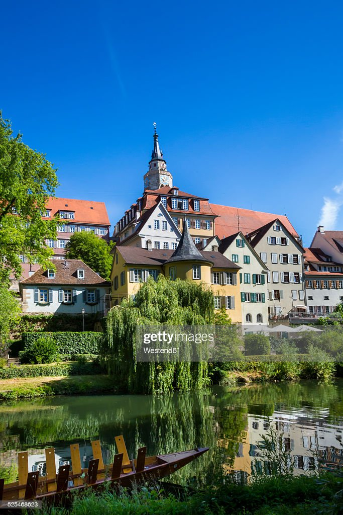 Germany, Baden-Wuerttemberg, Tuebingen, Hoelderlin tower and Collegiate church at Neckar river : Stock Photo