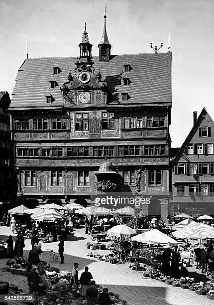 Germany BadenWuerttemberg Tuebingen market in front of the Town Hall 1937