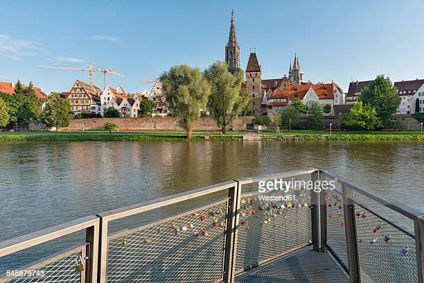 Germany, Baden-Wuerttemberg, Ulm, minster, Metzgerturm and love locks at River Danube
