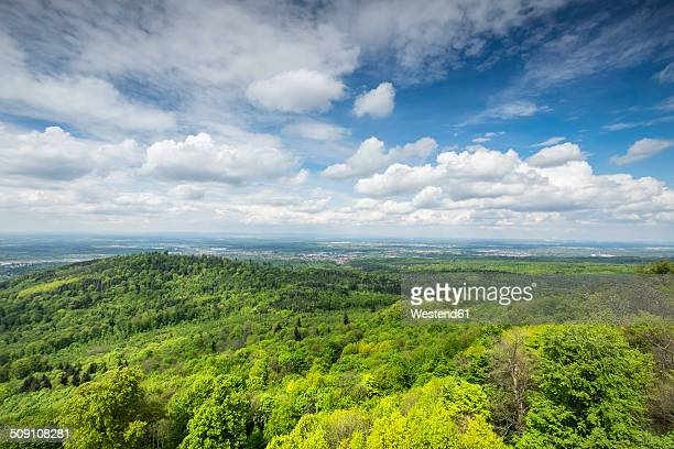 Germany, Baden-Wuerttemberg, View from Hohenbaden Castle to Northern Black Forest and Rhine Plain