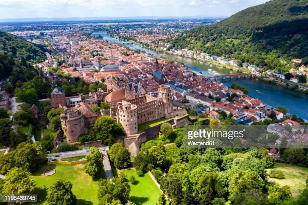 germany, baden-wurttemberg, aerial view of heidelberg with castle and river neckar - heidelberg stock-fotos und bilder