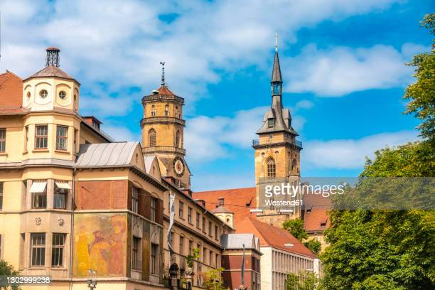 germany, baden-wurttemberg, stuttgart, stiftskirche and markthalle market house - stuttgart stock pictures, royalty-free photos & images