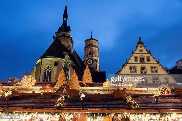 Germany, Baden-Wurttemberg, Stuttgart, Stiftskirche and Schillerplatz