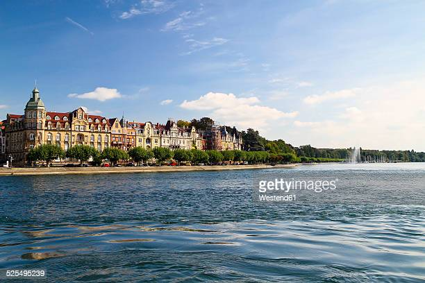 germany, baden-wurttenberg, constance, view of city with lake constance - bodensee stock-fotos und bilder