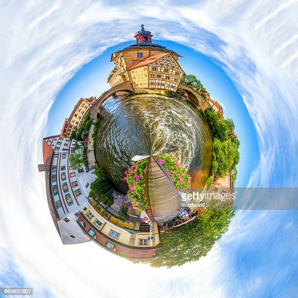 Germany, Bamberg, historic old town at Regnitz River, montage