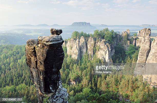 Germany, Bastei Rock and Bastei Bridge, view over Elbe valley
