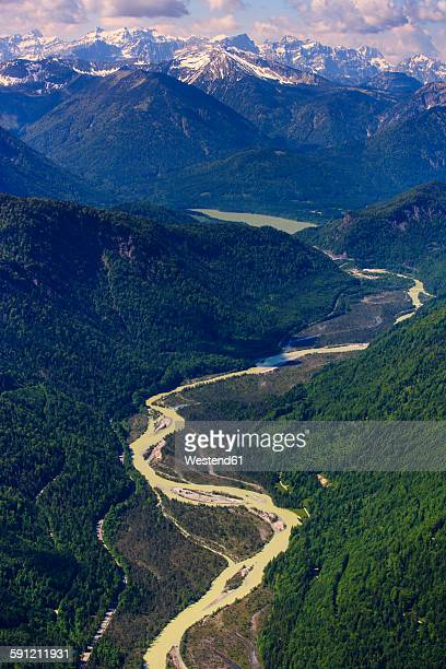 Germany, Bavaria, Aerial view of Lenggries with Isar river and the Alps