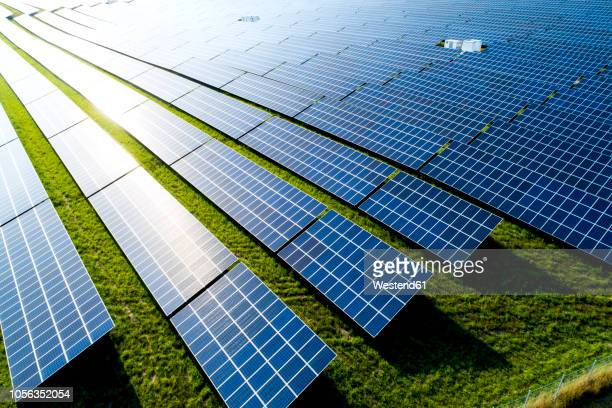 germany, bavaria, aerial view of photovoltaic plant - solar powered station stock pictures, royalty-free photos & images