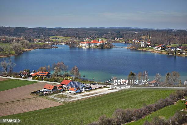 Germany, Bavaria, Aerial view of Seeon Abbey at lake Chiemsee
