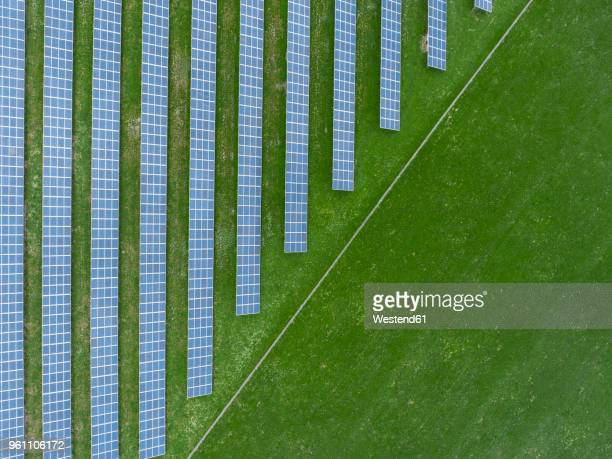 germany, bavaria, aerial view of solar panels - solar powered station stock pictures, royalty-free photos & images