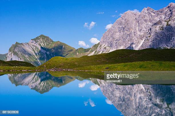 Germany, Bavaria, Allgaeu, Allgaeu Alps, Oy Valley, Lake Eissee, Mountains Himmelhorn, Schneck and Himmeleck, Grosser Wilder right