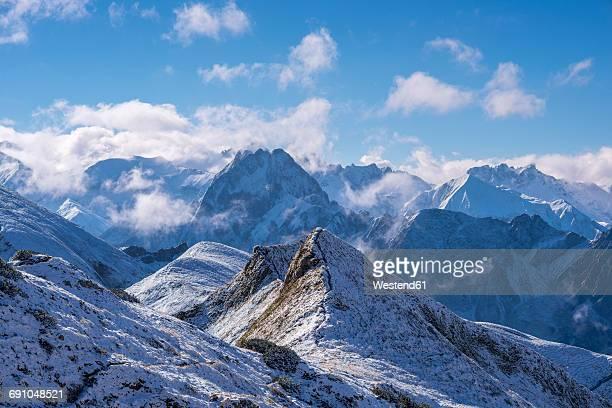 Germany, Bavaria, Allgaeu, Allgaeu Alps with Hoefats as seen from Hoefatsblick summit station at Nebelhorn